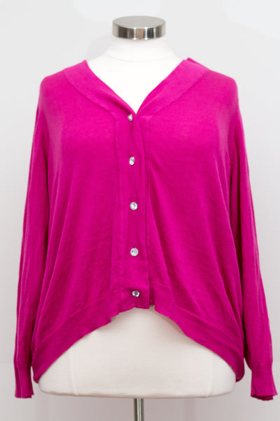 Long Sleeve Cardigan With Crystal-esque Buttons