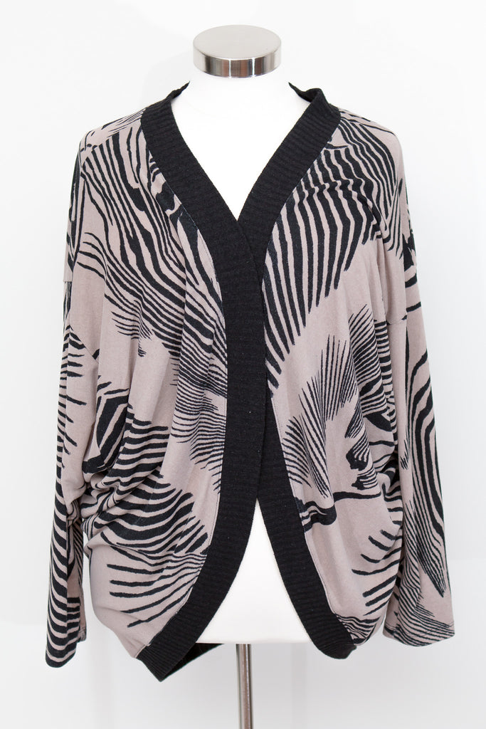 Fashion To Figure Open Front Black & Grey Cardigan - Size 3X