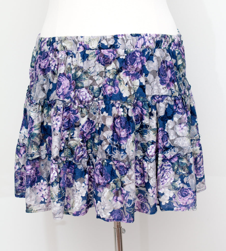 Forever 21 Ruffle Floral Print Skirt - Size 2X