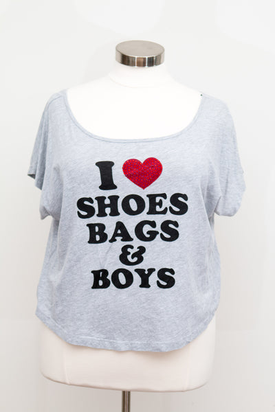 Forever 21 Grey Tee - I Love Shoes Bags & Boys - Size 2X