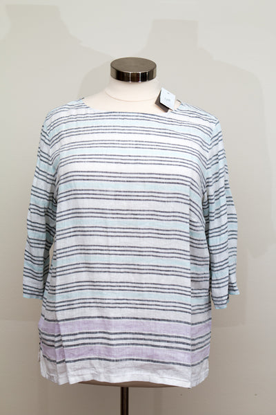 J. Jill Love Linen White Striped Linen Top - New With Tags- Size 2X