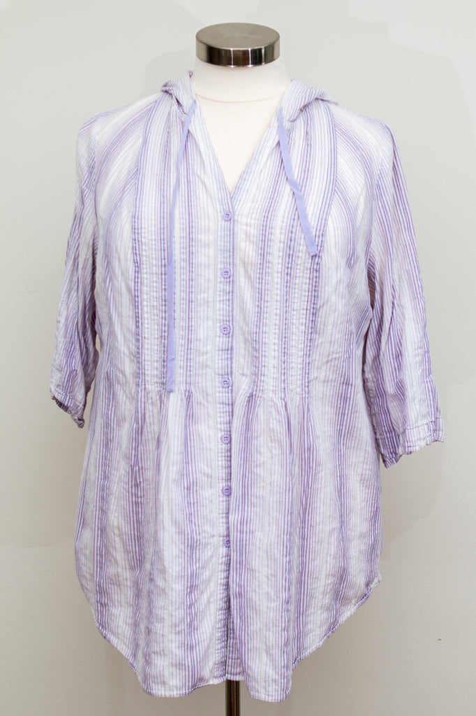 Lane Bryant Striped Button Up Shirt With Hood- Size 18/20