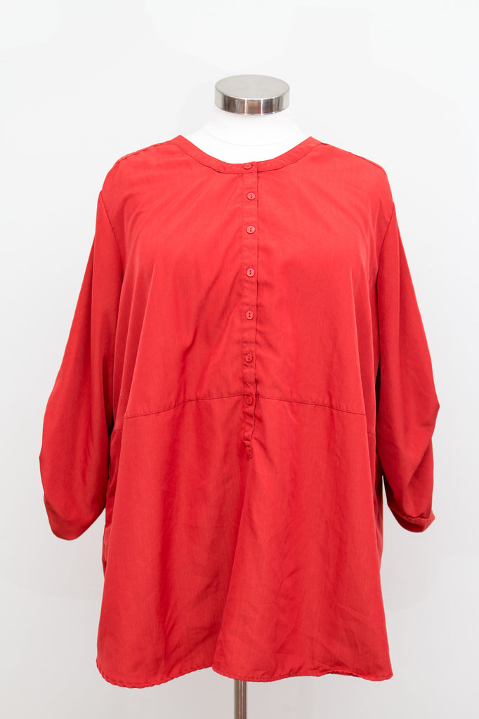 Button Up Tunic With 3/4 Length Sleeves - No Stretch