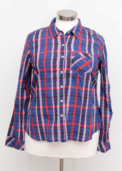 Forever 21 Navy & Red Button Up Shirt With Pocket - Size 1X