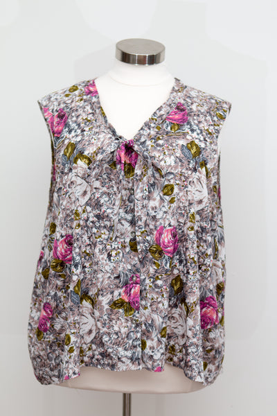Flutter Sleeveless Button Up Floral Top With Tie Front - Size 30