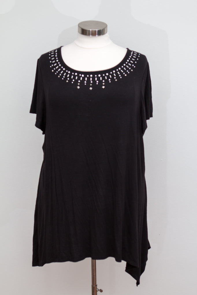 Avenue Black Short Sleeve Top With Bling Detail - Size 26/28