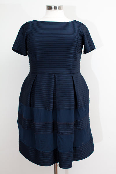 Taylor Short Sleeve Navy Dress With Stripes & Mesh Inlay - Size 10W