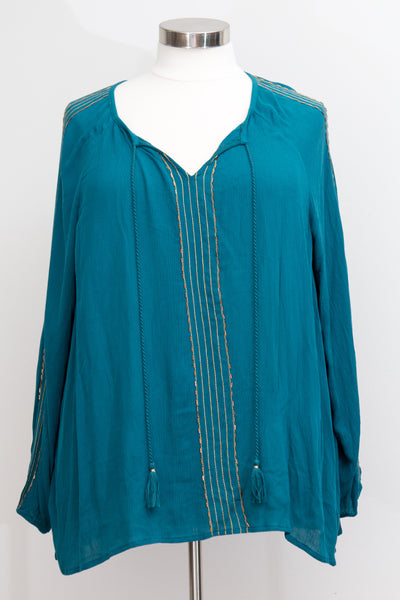 Lane Bryant - Teal Peasant Top With Gold Detail - Size 26/28