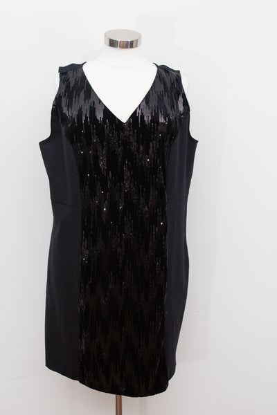 Lane Bryant - Black Body Con Dress With Sequin and Velvet Panel - Size 28 - NWT