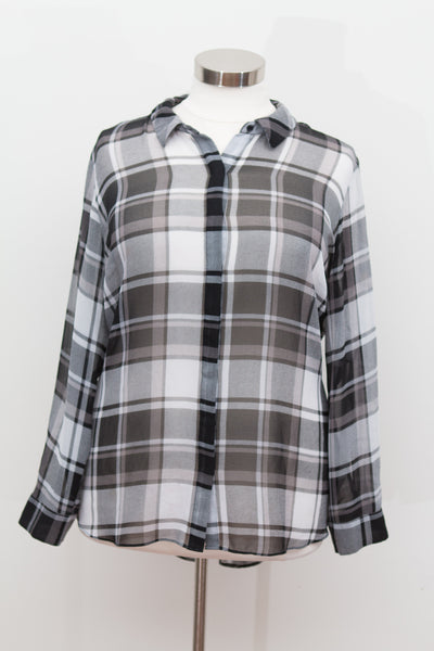 Lane Bryant - Black White & Grey Sheer Plaid Button Down Top - Size 26/28