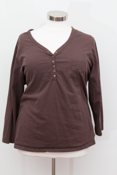 Roaman's Brown Long Sleeve T-Shirt With Pocket & Button Front - Size 3X