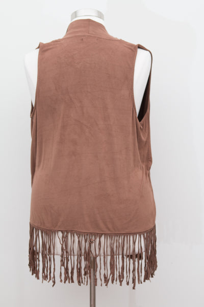 Kandy Kiss - Brown Faux Suede Fringe Vest - Size 1X