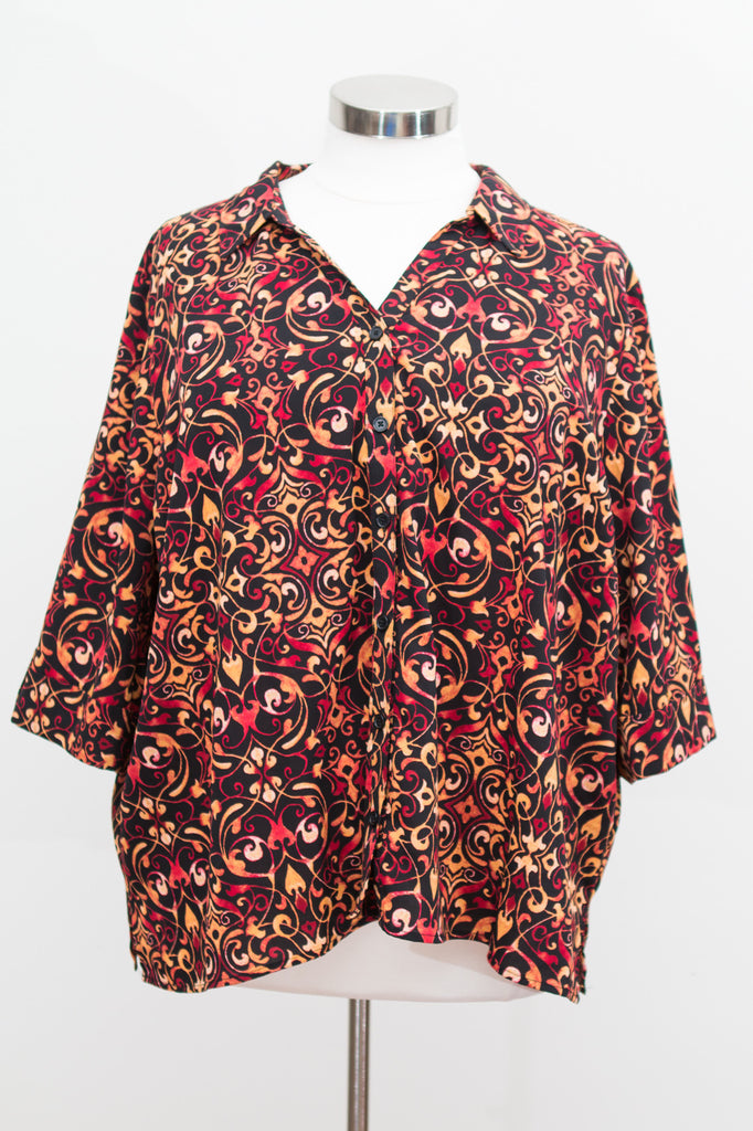 Catherine's Plus Patterned Button Front Top With 3/4 Sleeves - Size 3X Petite