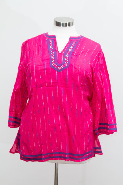 Catherine's Pink Bohemian Tunic With Beaded and Embroidered Detail - Size 3X
