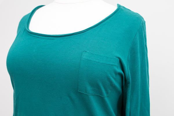 Lane Bryant Hunter Green Pocket Tee With 3/4 Sleeves - Size 26/28