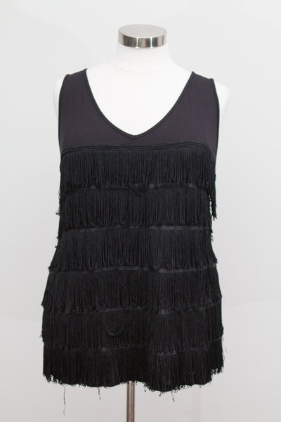 Lane Bryant Black Tank With Fringe - Size 26/28