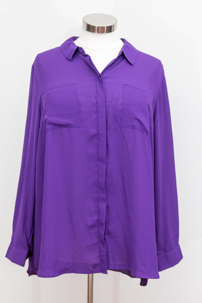 Lane Bryant - Purple Sheer Button Front Top With Pockets and Rear Split - Size 26/28