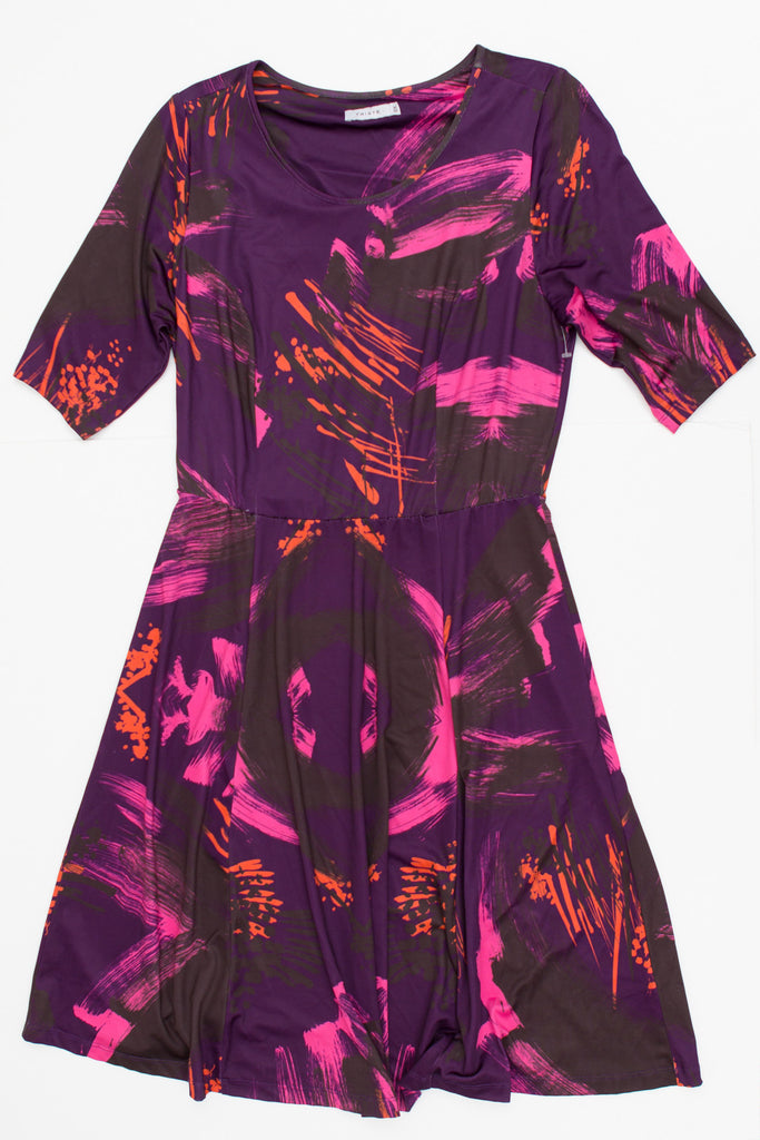 Triste - Deep Purple Elbow Length Sleeve Stretchy Dress With Pink and Orange Design - Size 0X (10/12)