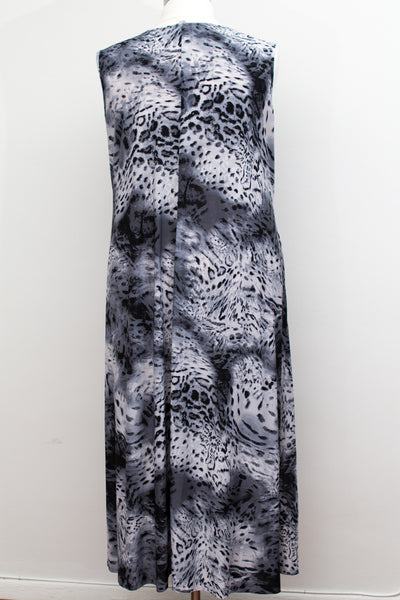 SWAK - Black, White & Grey Animal Print Belted Maxi - Size 5X