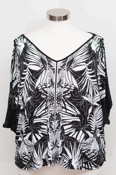 Lane Bryant - Black & White Tropical Print Cold Shoulder Short Sleeve Top - Size 26/28