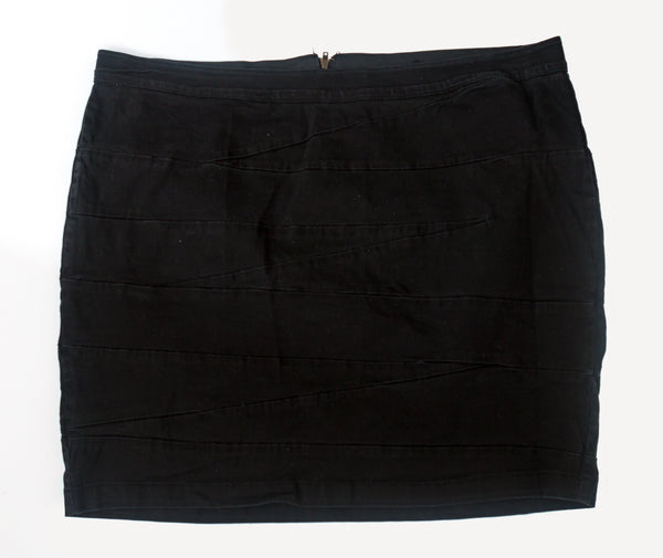 Lane Bryant - Black Denim Stretch Pencil Skirt With Zig Zag Pattern - Size 28