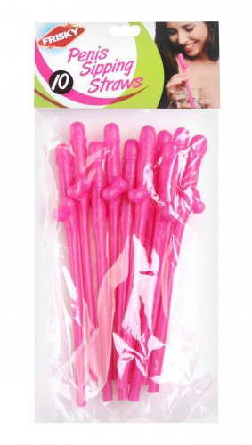 Penis Sipping Straws 10 Pack - Pink