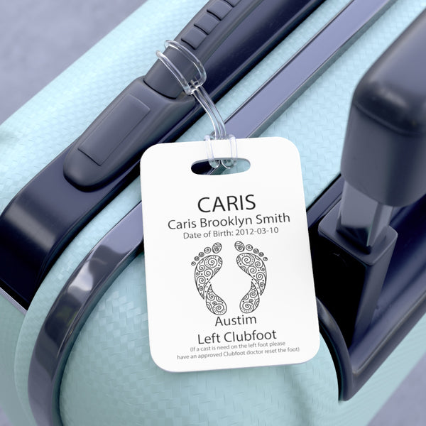 Feet - (1) - Medical Stoller & Carseat or Wheelchair Tag