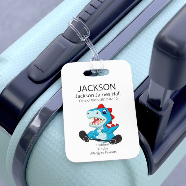 Dino - CARTOON - Medical Stoller & Carseat or Wheelchair Tag