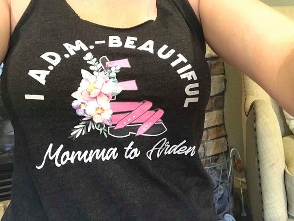 I ADM Beautiful  Momma to - Customize me - Women's Racerback Tank