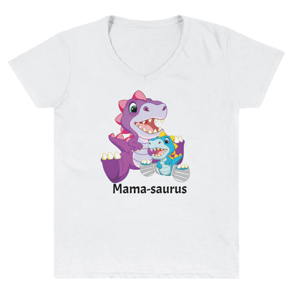 Clubfoot Mama-saurus (casts) - Dino Family -  Women's Casual V-Neck Shirt