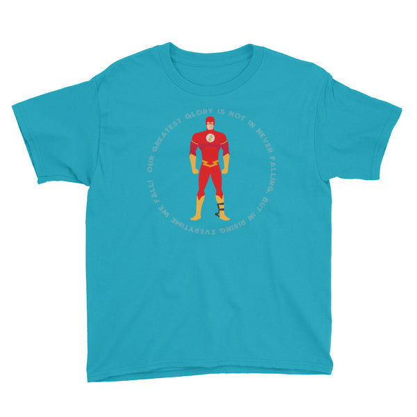 Superhero Red: Our greatest glory is not in never falling, but in rising everytime we fall - DAY ADM - Youth Short Sleeve T-Shirt