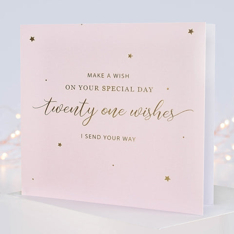 '21 Wishes' 21st Birthday Card - makeawishcandleco