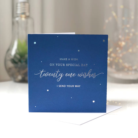 'Twenty One Wishes' 21st Birthday Card for Him