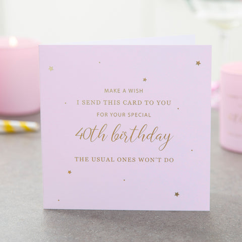 40th Birthday Card - makeawishcandleco
