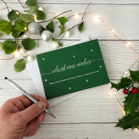 Make a Wish Christmas Wishes Card - Green