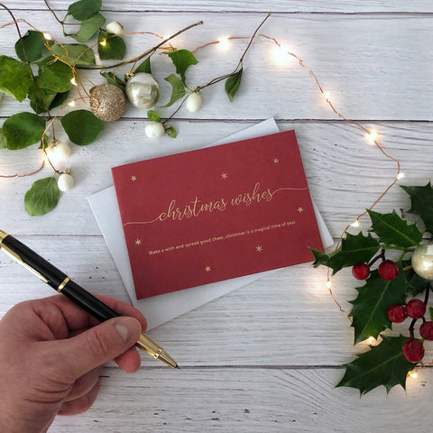 Make a Wish Christmas Wishes Card - Red