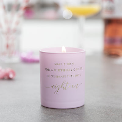 'Make a Wish for a Birthday Queen' - 18th Birthday Candle - makeawishcandleco