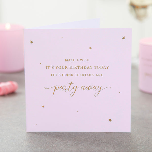 Party Away with Cocktails Birthday Card - makeawishcandleco