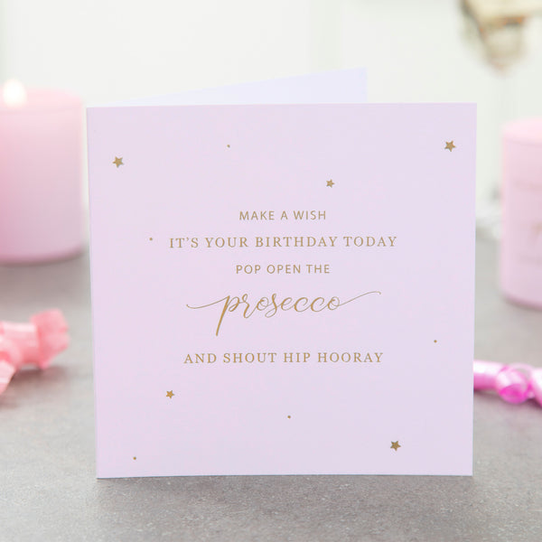 Prosecco Birthday Card - makeawishcandleco