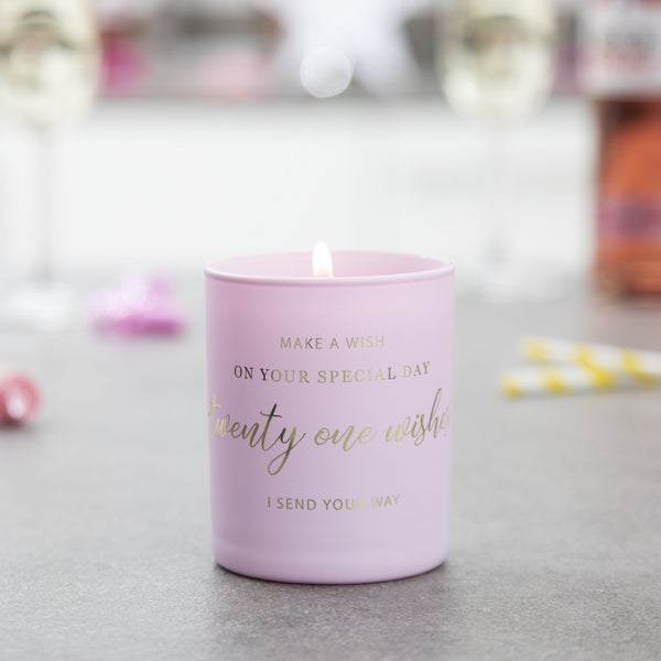 'Twenty One Wishes' - 21st Birthday Candle - makeawishcandleco