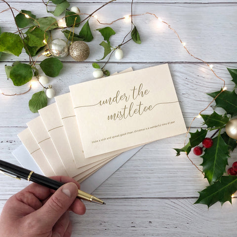 Make a Wish Under the Mistletoe Christmas Card (5 pack)