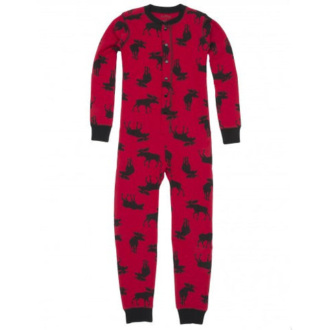 "Children's Union Suit - Moose On Red ""Trailing A Little .."""
