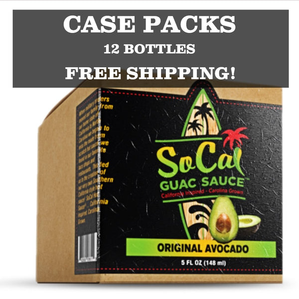 Hot Sauce Wholesale Case Packs from SoCal Hot Sauce - SoCal Guac Sauce and Hot Sauce in 12 pack boxes of 5 FL OZ glass woozy bottles - SoCal Hot Sauce