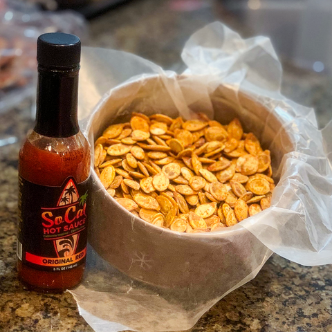 Pepitas pumkin seed recipe with socal hot sauce