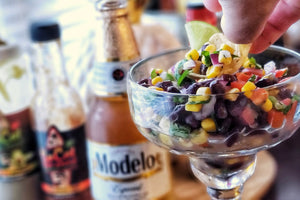 Black bean and corn salsa with SoCal Hot Sauce Original Red