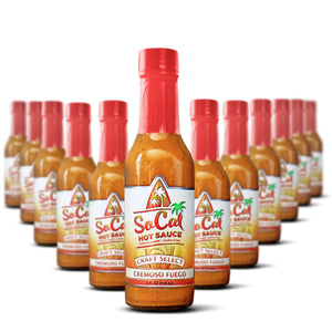 wholesale hot sauce - case of Cremoso fuego - all natural ghost pepper hot sauce - gluten free vegan paleo friendly and keto freindly - socal hot sauce cremoso fuego