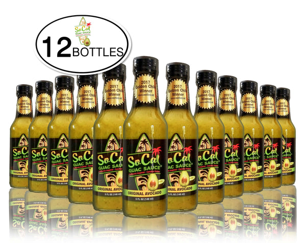 Wholesale Avocado Sauce - The Original Avocado SoCal Guac Sauce™ voted best salsa verde - green sauce in the nation - a delicious avocado hot sauce from SoCal Hot Sauce™ - avocado sauce- avocado salsa the best green sauce on the market case of 12 bottles