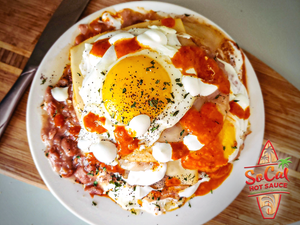 Huevos Rancheros with Cremoso fuego - all natural ghost pepper hot sauce - gluten free vegan paleo friendly and keto freindly - socal hot sauce cremoso fuego