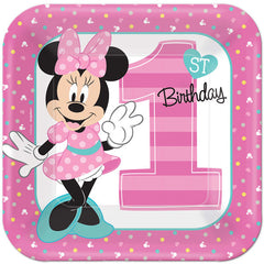 "Minnie Mouse 1st Birthday Lunch plates 9"" (8)"