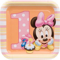 "Minnie Mouse 1st Birthday Cake Plates 7"" (8)"
